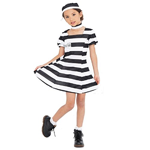 PATYMO - Girl's Cute Prisoner Child Costume, One Size - Halloween Dress -