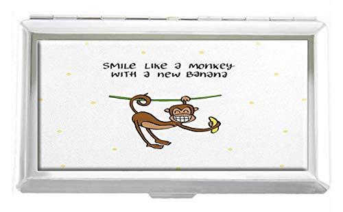 Holder Monkey Card (Smile Like A Monkey with Banana Design Unisex Stainless Steel Cigarette Holder Case Protection Credit Business Card Storage Box Pocket/Wallet)