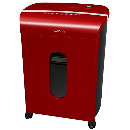 GoECOlife GMW120P-RED Limited Edition 12-Sheet High Security Microcut Paper Shredder Red -