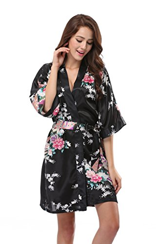 Luvrobes Women's Satin Kimono Robe, Peacock Design, Short (M, Black)