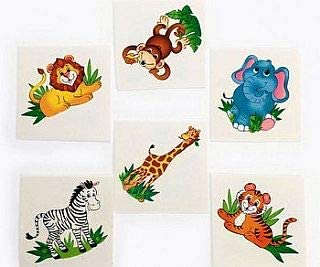 10 Sheets Jungle Zoo Animals Temporary Tattoos kids party bag fillers Fun Uk