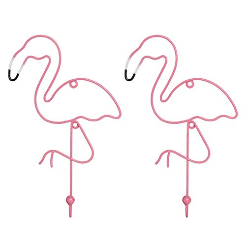 PINE AND PAINT LLC Flamingo Wall Hooks Set of Two Colorful Coat Hook Jewelry Hanger Clothing Holder