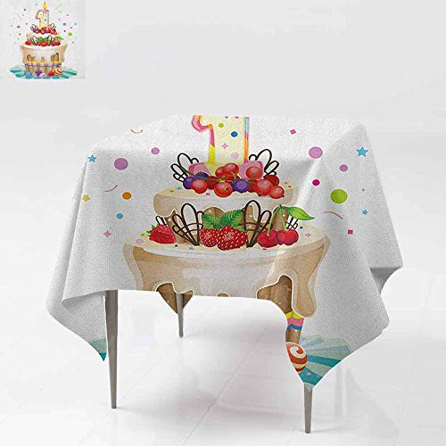 AndyTours Square Tablecloth,1st Birthday,Baby First Party Festive Cake with Forest Fruits and Candlestick Image Print,for Events Party Restaurant Dining Table Cover,36x36 Inch Multicolor