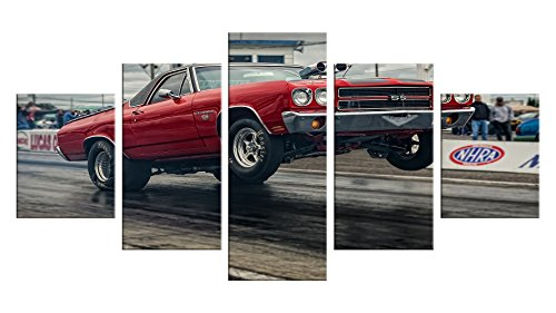Drag Racing Wall Decals - 5 Pieces Wall Art - Oil Painting Printed Wall Decor - Unframed - Funny Vintage Window Birthday Decoration Bumper Sticker #06