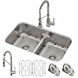 KRAUS KCA-1200 Ellis Kitchen Combo Set with 33-inch 16 Gauge Undermount Kitchen Sink and Bolden 18-inch Pull-Down Commercial Style Kitchen Faucet, Stainless Steel Finish