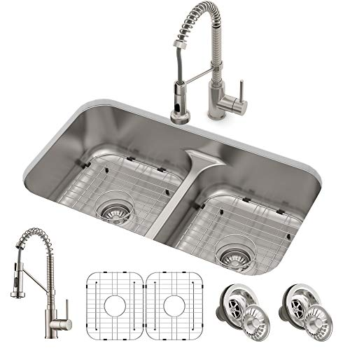 KRAUS KCA-1200 Ellis Kitchen Combo Set with 33-inch 16 Gauge Undermount Kitchen Sink and Bolden 18-inch Pull-Down Commercial Style Kitchen Faucet, Stainless Steel -