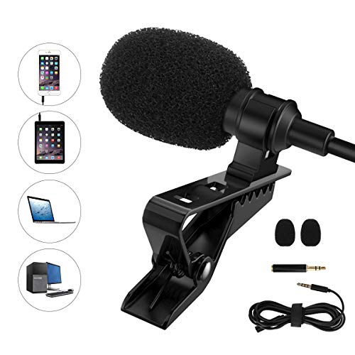 MoKo Lavalier Microphone, Professional Small Mini Lapel Mic Omnidirectional Condenser Microphone, Hands Free Shirt Collar Clip-on Voice Amplifie for iPhone iPad PC Laptop Smartphones Tablets - Black