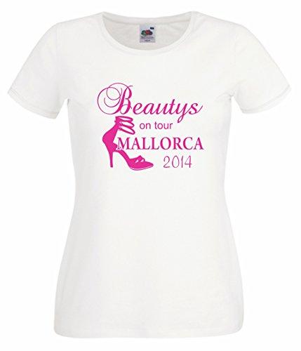 Damen/Frauen Party T-Shirt Motiv Beautys on Tour MALLORCA weiss L