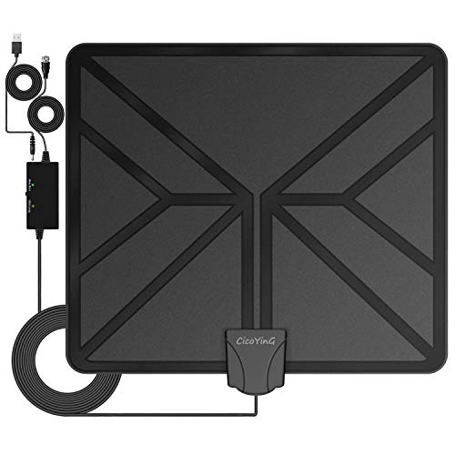 [2019 Upgraded] Amplified HD Digital TV Antenna - Best 80 Miles Range HDTV Antenna Indoor Amplifier Signal Booster, Support 4K 1080P & All Older TV's Free Channels