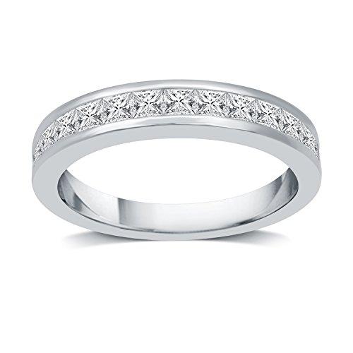 DeCarat 1 CT.T.W. Diamond 10K White Gold Princess Wedding Band Ct Tw Princess Diamonds Band