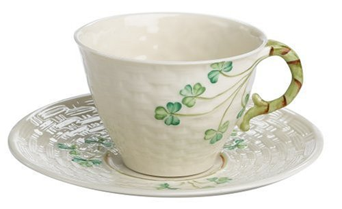- Belleek Shamrock Cup and Saucer Set
