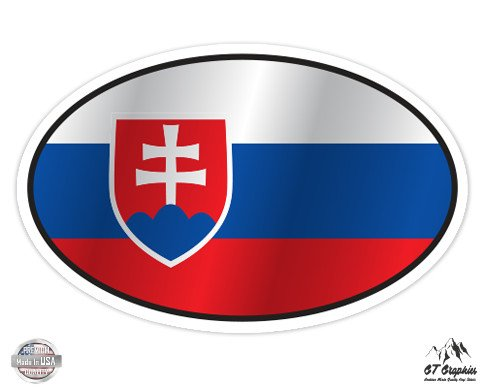 "Slovakia Flag Oval - 3"" Vinyl Sticker - For Car Laptop I-Pad Phone Helmet Hard Hat - Waterproof Decal"