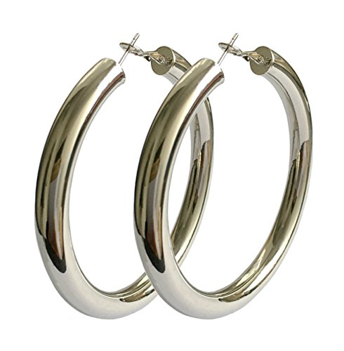 STAYJOY Sterling Silver Fashion High-profile Big Hoop Earrings with Omega Backs (LARGE)