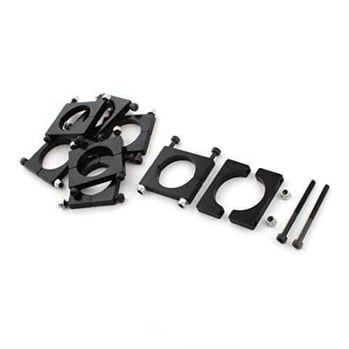 uxcell 8 Pcs 25mm Black Aluminum Clamp for Carbon Fiber Tube RC ()