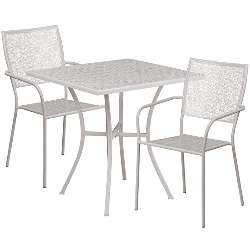 MFO 28'' Square Light Gray Indoor-Outdoor Steel Patio Table Set with 2 Square Back Chairs