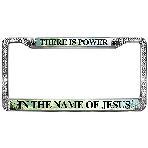 GND License Plate Frame for Women There is Power in Name of Jesus Rhinestone License Plate Frame Bible Verse Quotes Rhinestones Crystal License Plate Frames with Screws Caps Set
