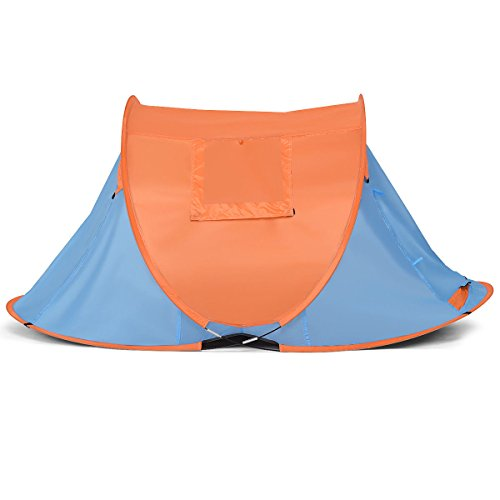 Tangkula Portable Automatic Pop-up Tent Water Resistant & UV Protection Camping Hiking Carry Bag (Orange