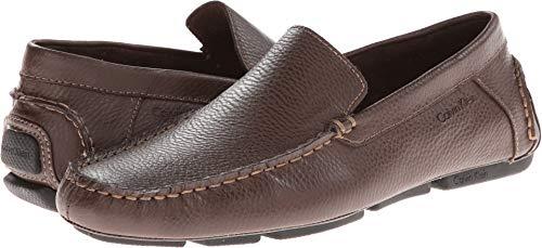 Calvin Klein Men's Menton Med Brown Tumbled Leather Loafer 41.5 (US Men's 8.5) D