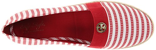 Suave Railroad Puppies Hillary Por Hush Estilo Stripe Ii Plana Red Canvas TTrSpfWq