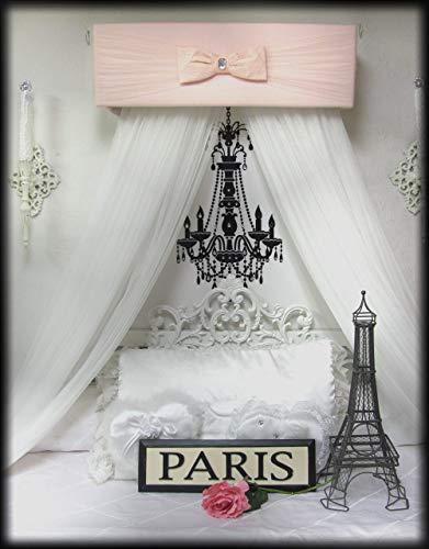 Bed Canopy BLUSH Pink Monique Teester Baby Girls nursery bedroom Crown Tiara Vintage Peach Princess FREE White ShEeR Curtains Custom SaLe]()