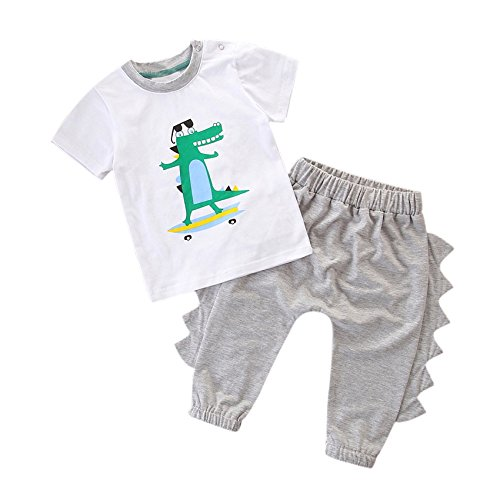 Baby Boy Set Stand Crocodile Solid Short Sleeve T-Shirt + Crocodile Rim Pants (6-12M) -