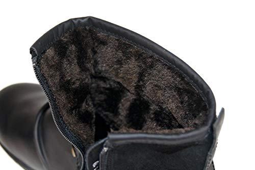 Western Piatto Vitello In 5008 Quadrata Invernali Stivaletti Di Uomo Punta Pelle Oz Pelliccia Tacco Stivali Nera Botas Scivolare Su Lunghezza 1 Boots Caviglia Cowboy Biker F1wyZ7f