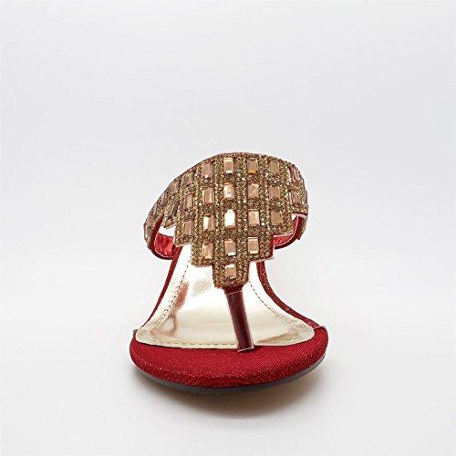 London Footwear - talón abierto mujer Rojo