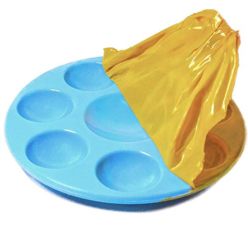 """Kit's Inventive - Nonstick Palette For Toddler/Kid"""" LIGHT BLUE"""" Unbreakable Synthetic Rubber [ 8 Well ] Easiest To Clean, Safest & Long Lasting"""