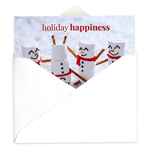Marshmallow Snowmen Holiday Card Pack - Set of 25 cards - 1 design, versed inside with envelopes Photo #2