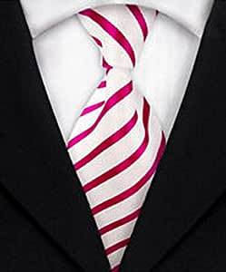 MINDoNG Men's Pink White Striped ties 100% Jacquard Silk Suit Casual tie Necktie GAG # 150794