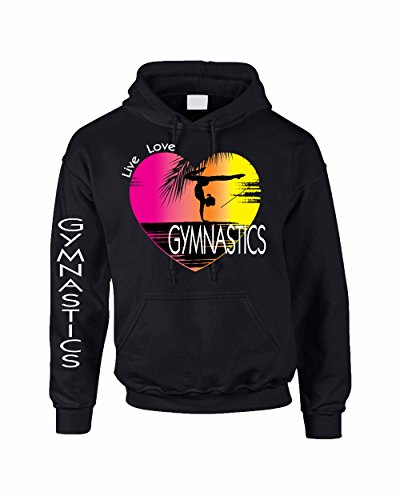 Allntrends Adult Hoodie Sweatshirt Gymnastics Art Pink Print Love Live (S, Black)