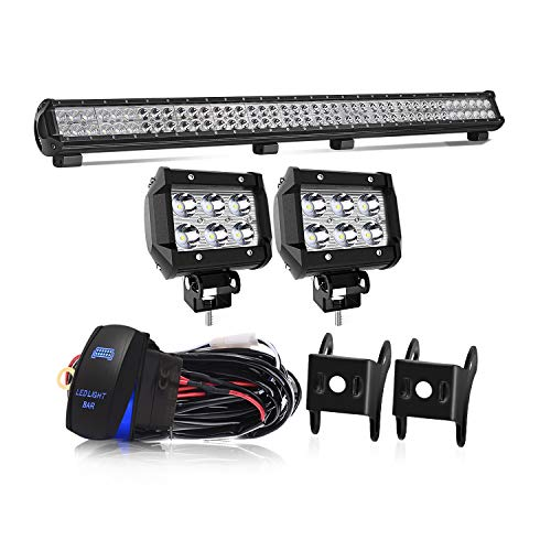 KEENAXIS 39 Inch 252W LED Spot Flood Combo Bar 2PCS 4Inch 18W Cube Pods LED Driving Lights with Rocker Switch Wiring Harness for SUV UTE ATV Truck 4x4 Boat ,1Years Warranty