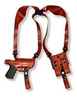 Premium Leather Horizontal Shoulder Holster System with Double Magazine Carrier for FN FNS - 9C Compact 3.6''BBL, Right Hand Draw, Brown Color #6101#