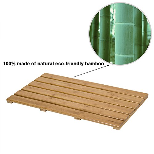 GOBAM Large Bath Mats Shower Mat Bathroom Floor Mat Non Slip for Spa Tub and Kitchen,Bamboo (26 x 15.8 x 1.3 inches) by GOBAM (Image #1)