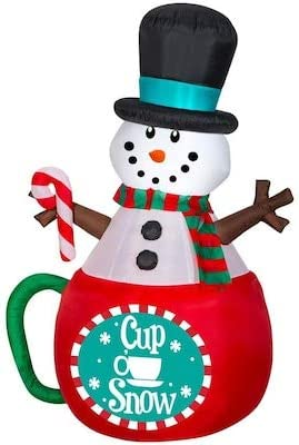 CHRISTMAS SANTA ANIMATED GINGERBREAD MAN IN CUP MUG COCOA  AIRBLOWN INFLATABLE
