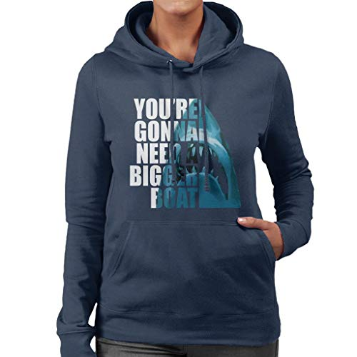 Hooded Text Jaws Sweatshirt Head Half Women's c0qww6Bv8
