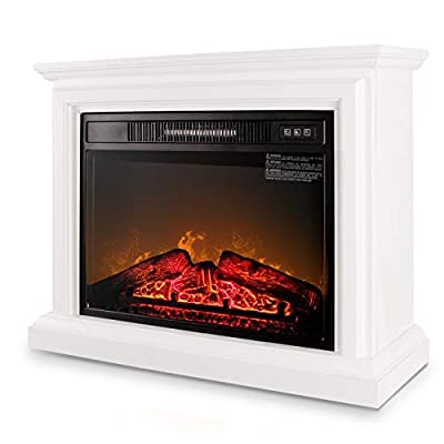 DELLA 1400W Infrared Quartz Deluxe Insert Fireplace Heater Adjustable Flame Mantel Caster Wheel w/Remote Control, White
