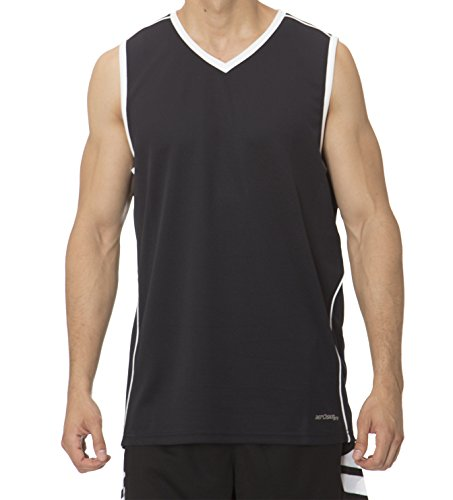 fan products of (BU3000Y) AeroSkin Dry Big Boys Sleeveless Basketball Shirt with Laser Cut Inserts in Black / White Size: M