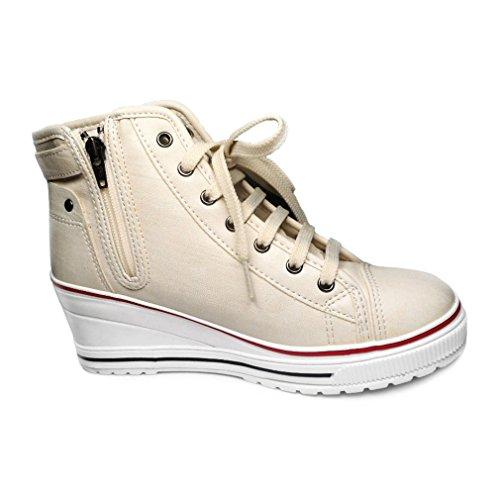 Scarpe Da Donna Alte Con Zeppa Epicstep Scarpe Con Fibbia Zip Allacciate Le Sneakers Casual Moda Beige2