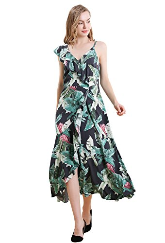 Vero Viva Women's Florla Print Asymmetric V-Neck Falbala Midi Summer Dress Belted Green S (Belted Button Strap Dress)