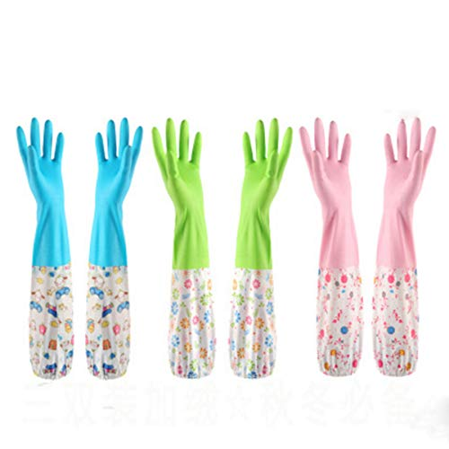 Set of 3 Pairs, Reusable Thickening Waterproof Cotton Lining Latex Household Antibacterial Gloves for Kitchen Dish Washing Laundry Cleaning (Medium, 3 Colors)