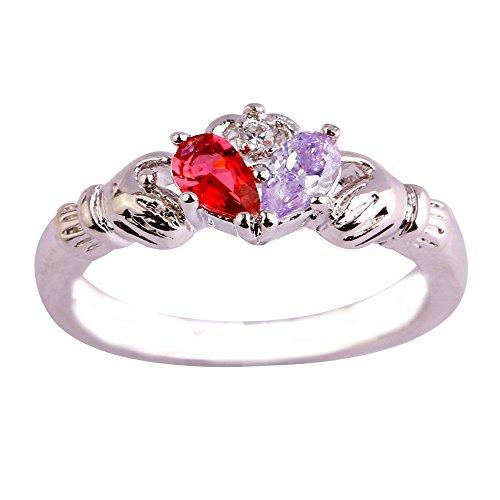 Topaz Tourmaline Ring - Empsoul 925 Sterling Silver Natural Novelty Created Tourmaline & Garnet Topaz Irish Claddagh Friendship & Love Heart Hand Ring
