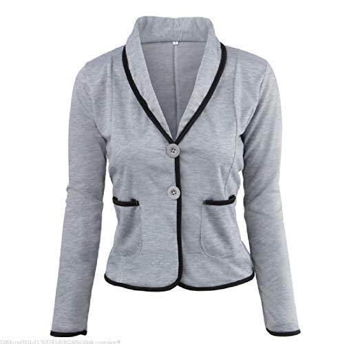 Tootless-Women Wrap Coat Skinny Regular Pork Chop Pocket Plus-Size Outwear Light Grey 4XL ()