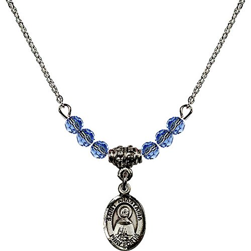 Anastasia 4 Light Pendant (18-Inch Rhodium Plated Necklace with 4mm Light Blue September Birth Month Stone Beads and Saint Anastasia Charm)