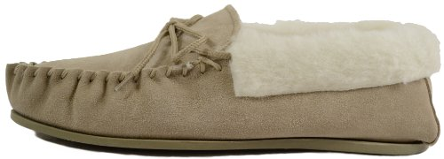 Slippers Lined amp; Moccasin Wool Camel Rubber Wool Cuff with Womens Snugrugs Sole 6HZIFSOwx
