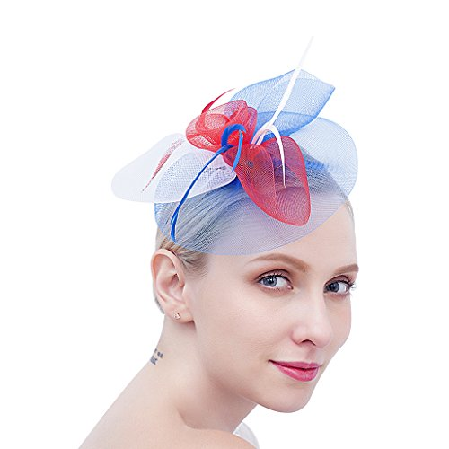 Felizhouse US Flag Fascinator Hats Headband Clip Mesh Tea Party Cocktail Derby Wedding Headwear (Flag Floral Hat)