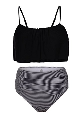 REKITA Womens Swimwear Shoulder Straps Ruched High-waisted Bikini Swimsuit,X-Large,Black Bra Size Bikini