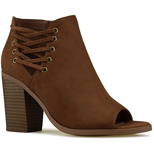 Premier Standard - Women's Elastic Side Panel Ankle Bootie - Comfortable Closed Toe Shoe – Low Heel Casual Comfortable Walking Boot, TPS Booties- Evah Cognac Size 7