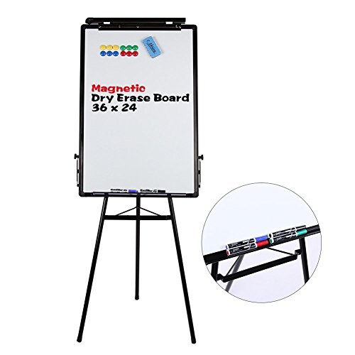 Tripod Whiteboard - 24x36 Inches Magnetic Dry Erase Board / Flipchart Easel With Black Aluminum Frame, Lightweight White Boards, Height Adjustable Whiteboard (Black)