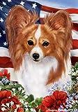 "Cheap Papillon Tri Dog – Tamara Burnett Patriotic I Garden Dog Breed Flag 12"" x 17"""